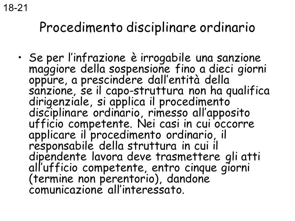 Procedimento disciplinare ordinario