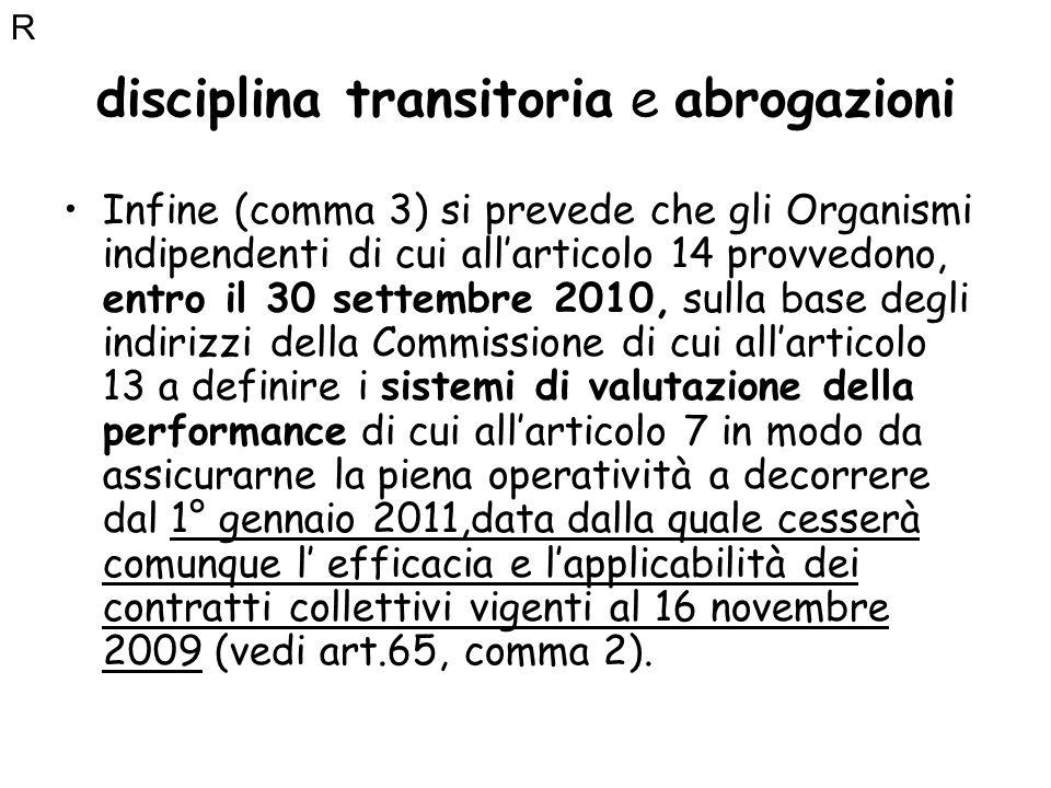 disciplina transitoria e abrogazioni