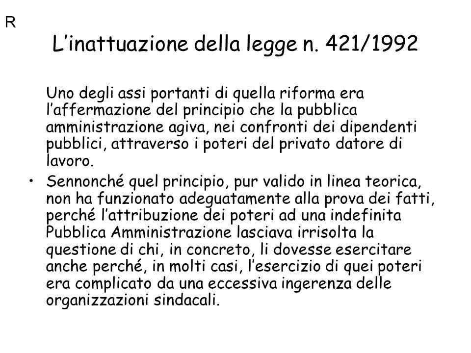 L'inattuazione della legge n. 421/1992