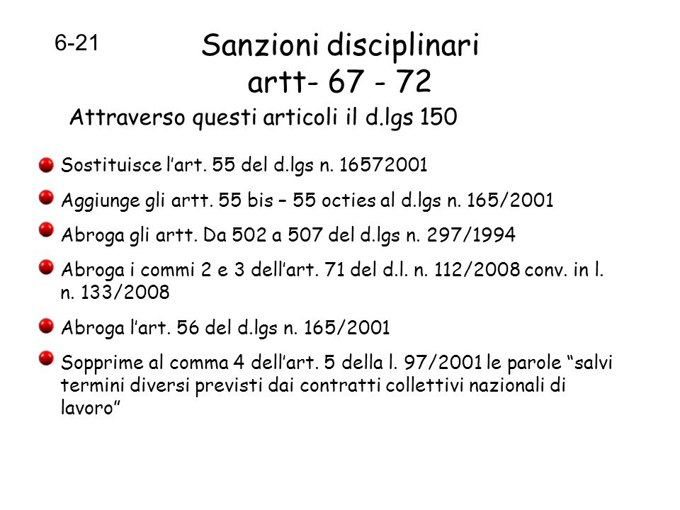 Sanzioni disciplinari artt- 67 - 72