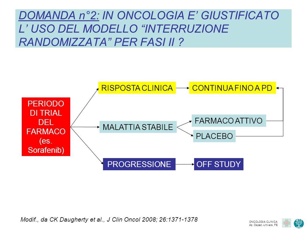 DOMANDA n°2: IN ONCOLOGIA E' GIUSTIFICATO L' USO DEL MODELLO INTERRUZIONE RANDOMIZZATA PER FASI II