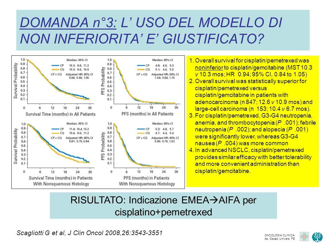 DOMANDA n°3: L' USO DEL MODELLO DI NON INFERIORITA' E' GIUSTIFICATO