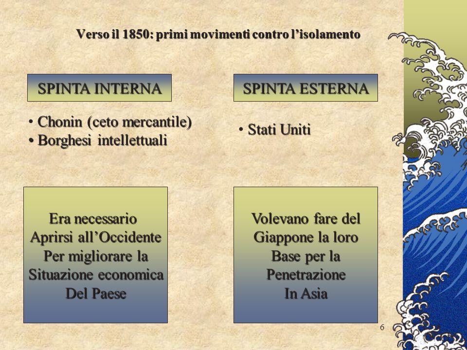 Verso il 1850: primi movimenti contro l'isolamento