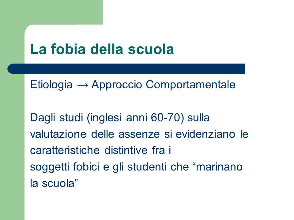 La fobia della scuola Etiologia → Approccio Comportamentale