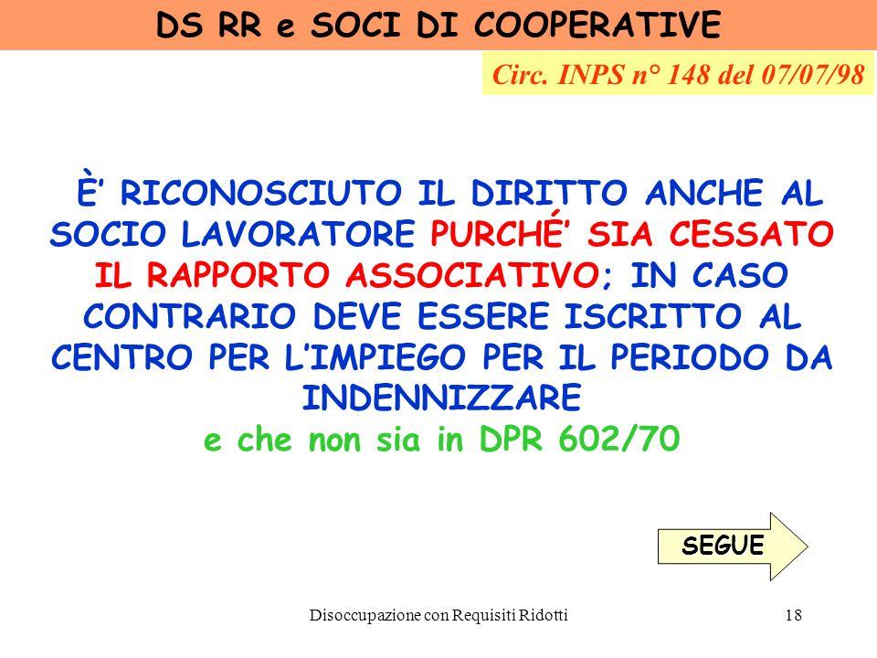 DS RR e SOCI DI COOPERATIVE