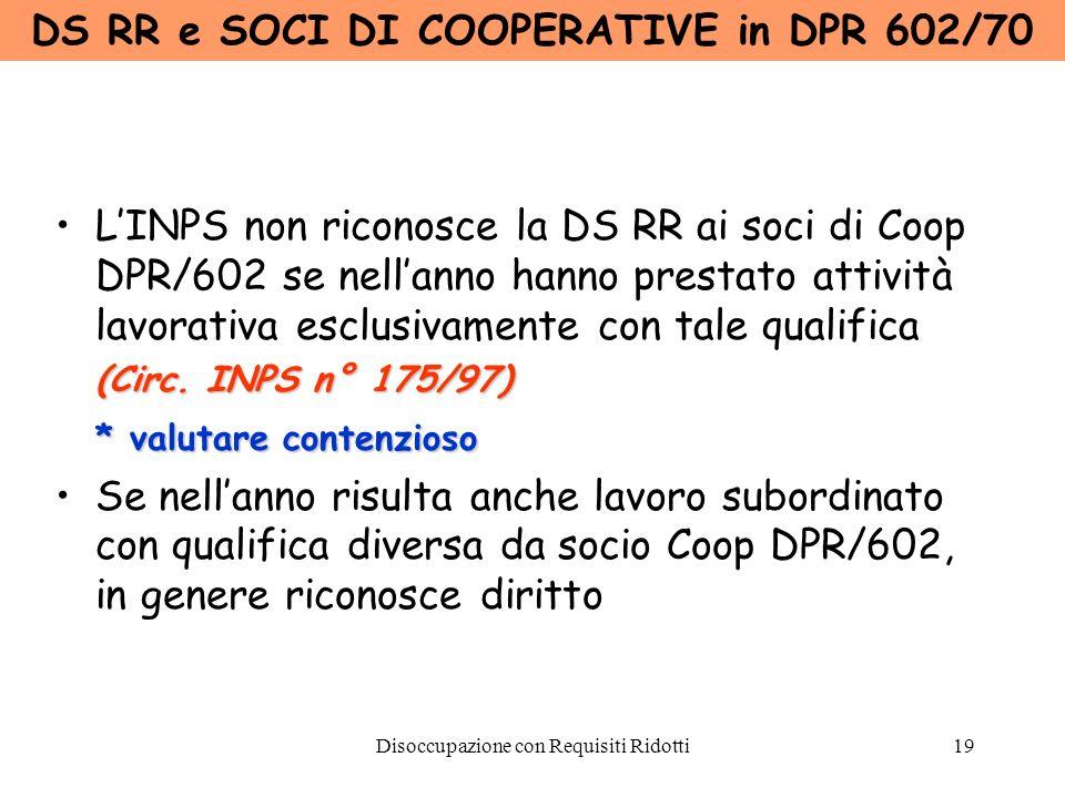 DS RR e SOCI DI COOPERATIVE in DPR 602/70