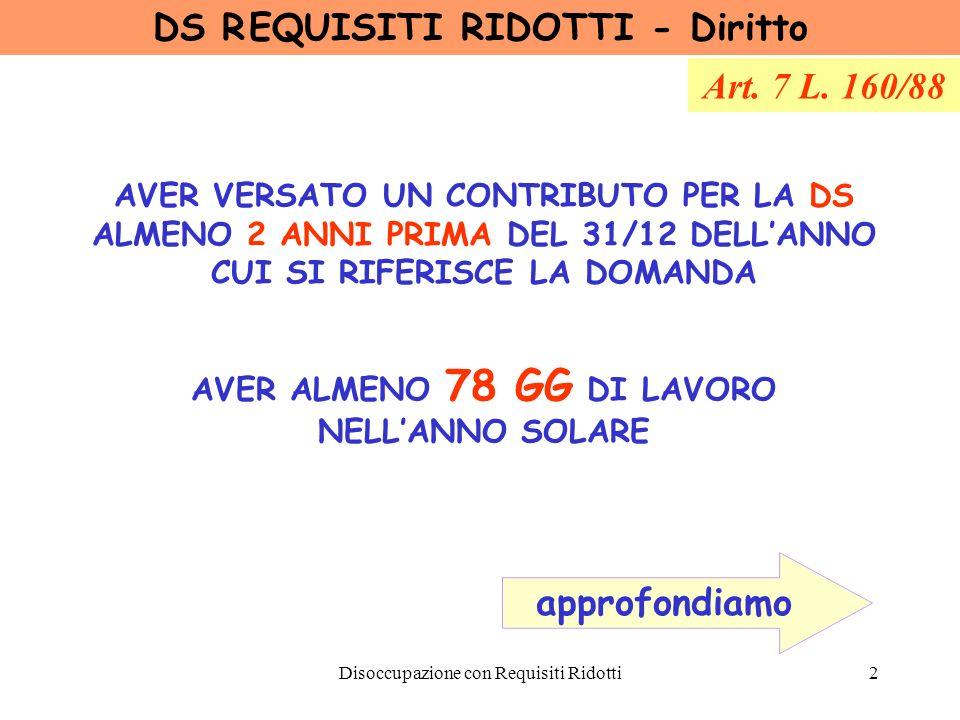 DS R EQUISITI RIDOTTI - Diritto