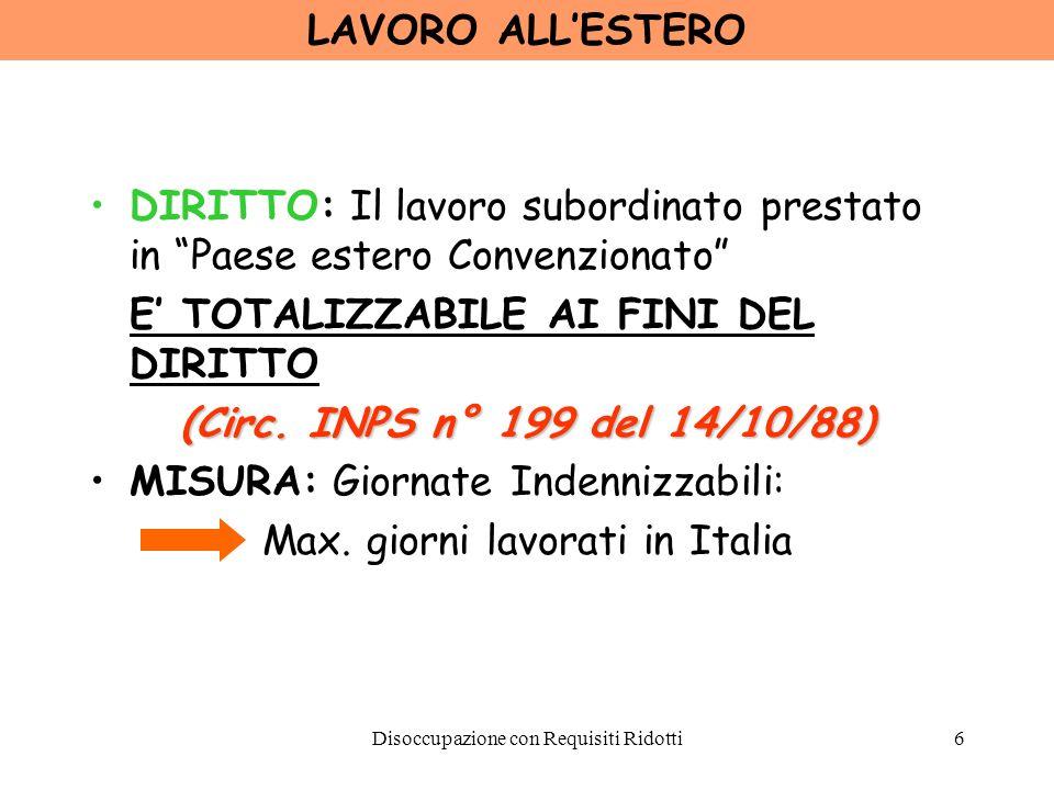 LAVORO ALL'ESTERO (Circ. INPS n° 199 del 14/10/88)