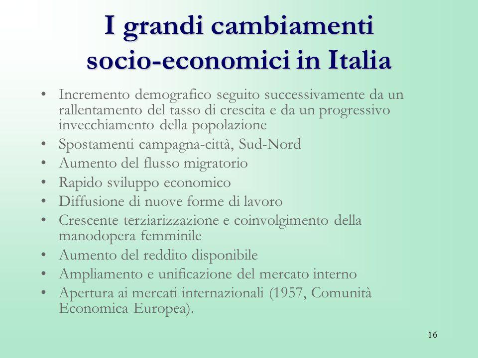 I grandi cambiamenti socio-economici in Italia