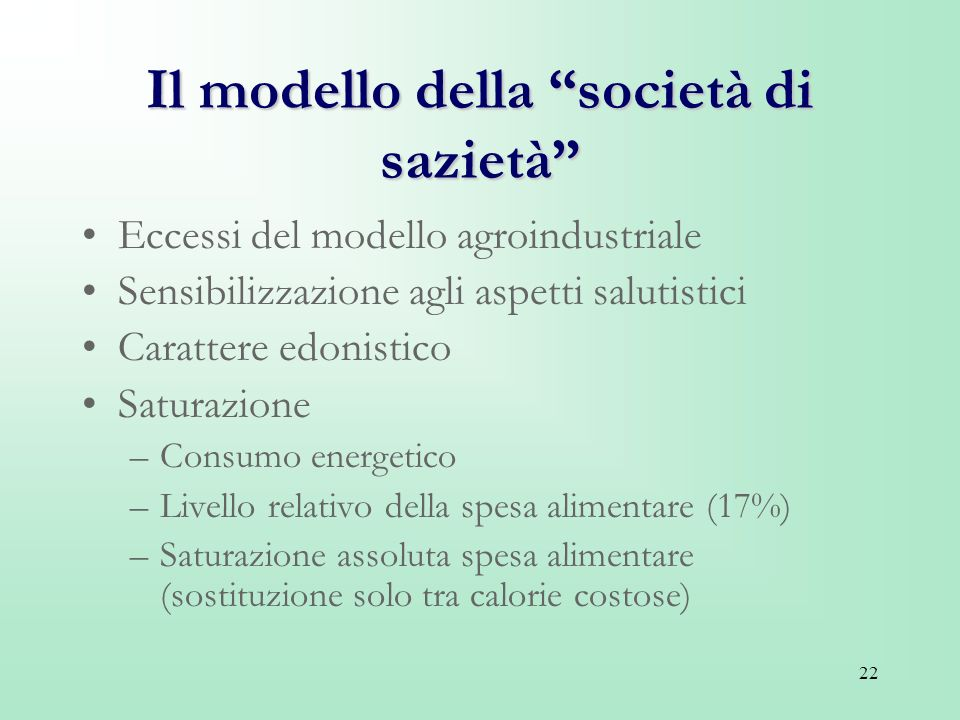Il modello della società di sazietà