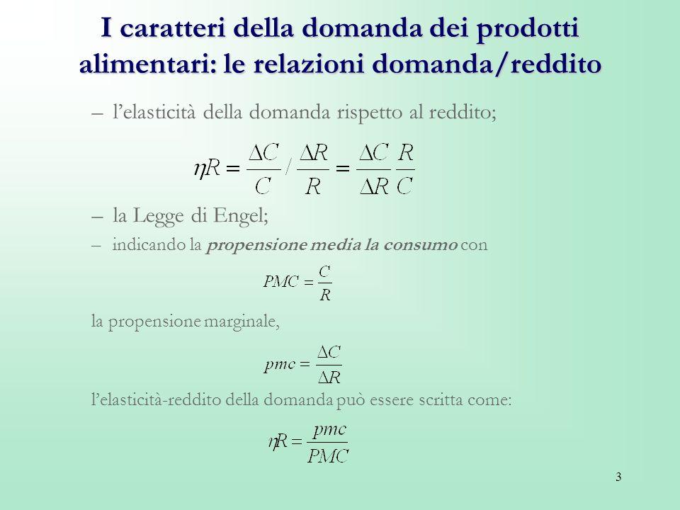 I caratteri della domanda dei prodotti alimentari: le relazioni domanda/reddito