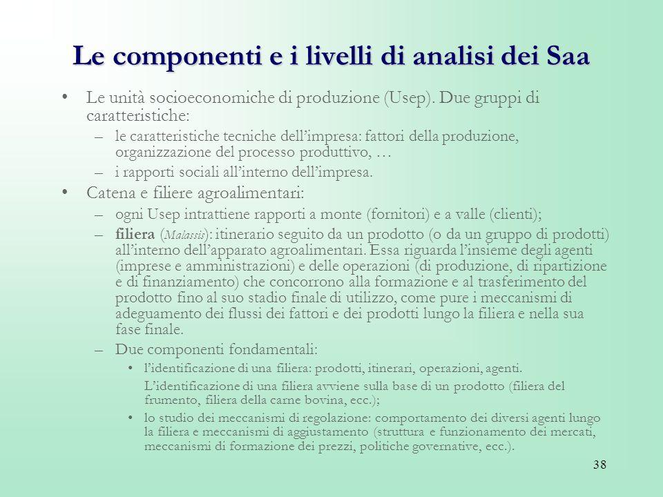 Le componenti e i livelli di analisi dei Saa