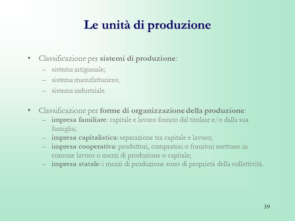 Le unità di produzione Classificazione per sistemi di produzione: