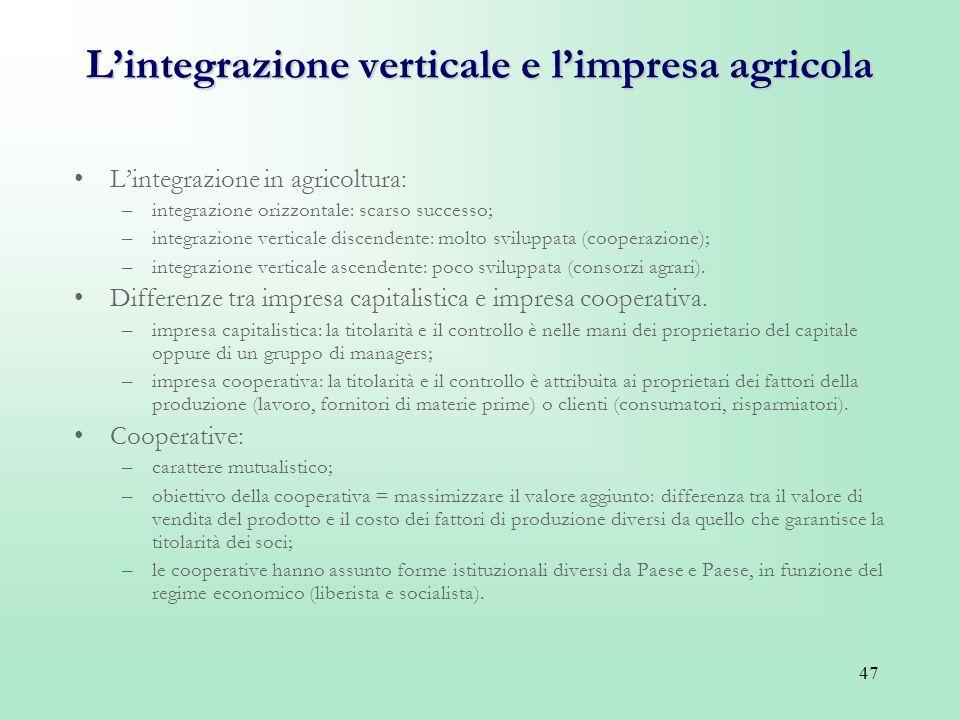 L'integrazione verticale e l'impresa agricola