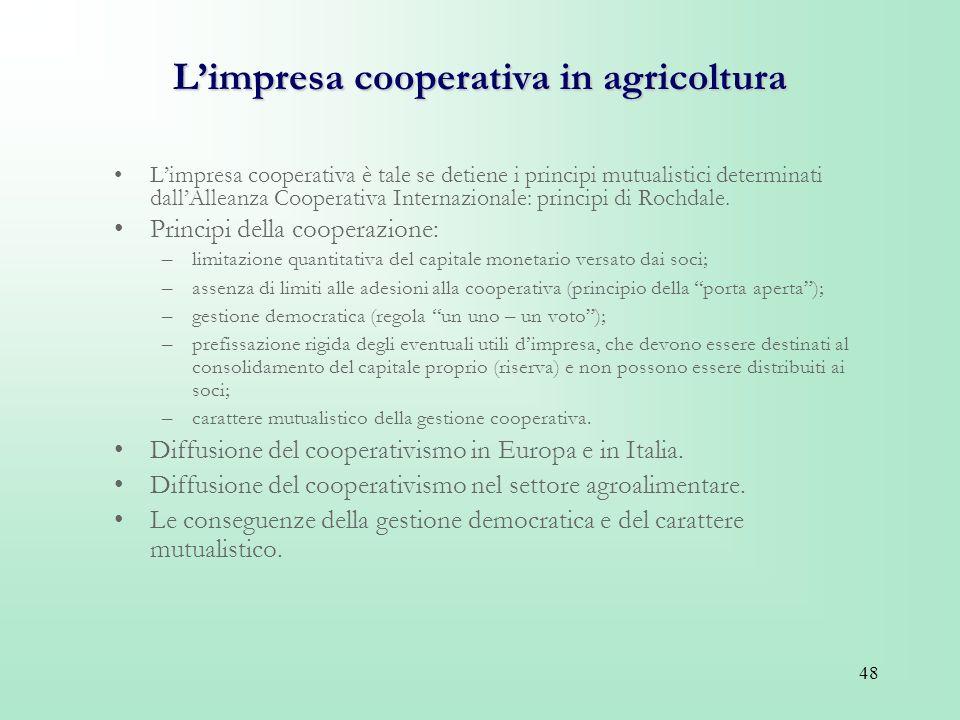 L'impresa cooperativa in agricoltura