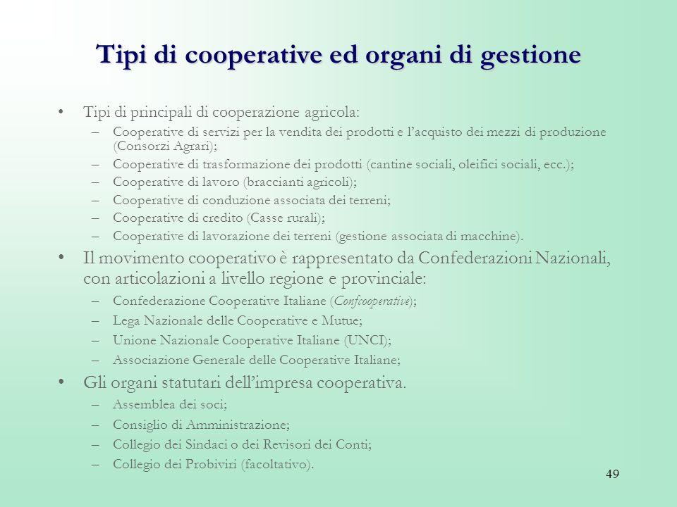 Tipi di cooperative ed organi di gestione
