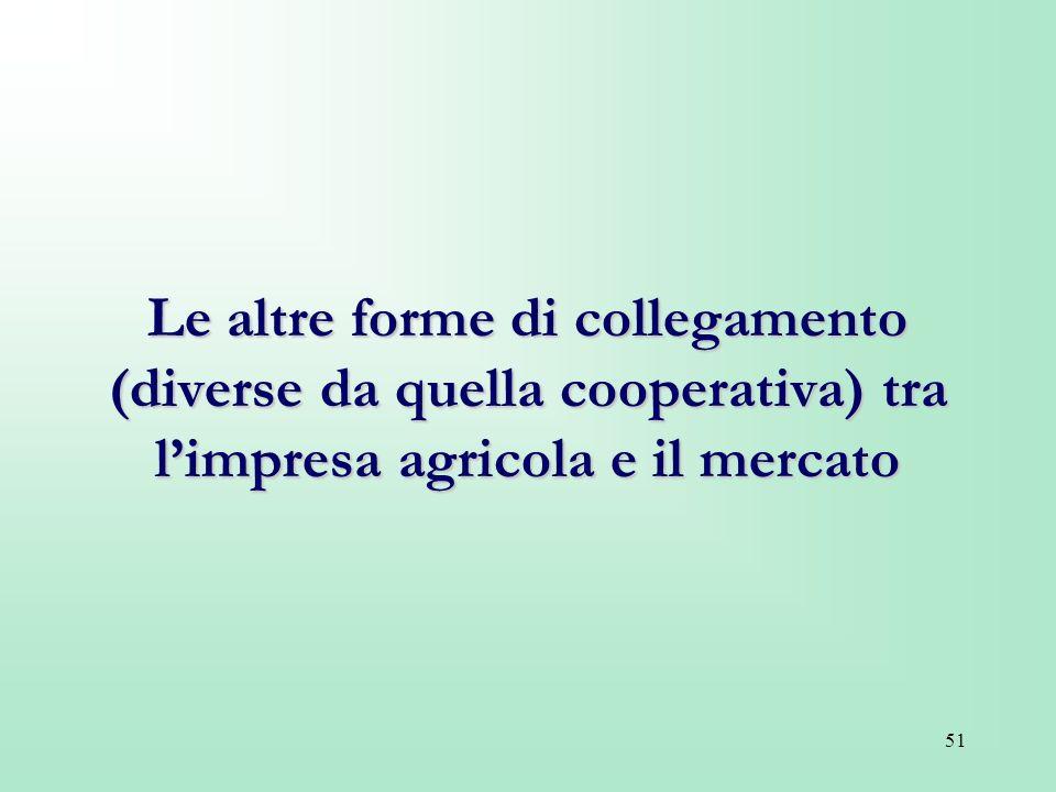 Le altre forme di collegamento (diverse da quella cooperativa) tra l'impresa agricola e il mercato