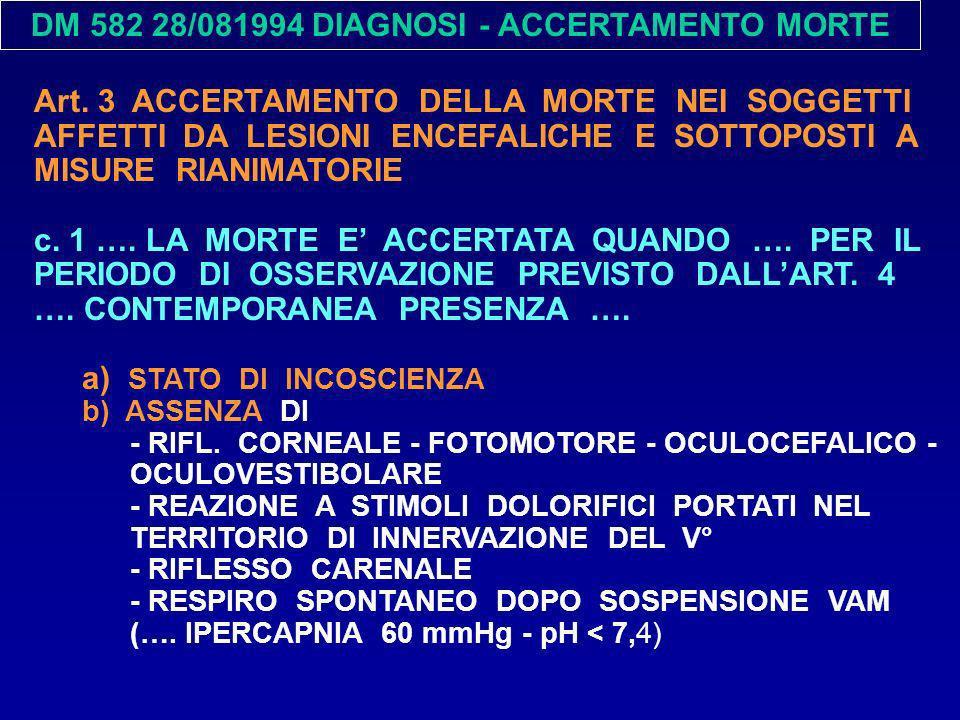 DM 582 28/081994 DIAGNOSI - ACCERTAMENTO MORTE