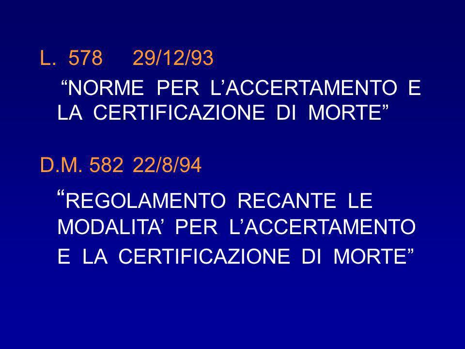 L. 578 29/12/93 NORME PER L'ACCERTAMENTO E LA CERTIFICAZIONE DI MORTE D.M. 582 22/8/94.