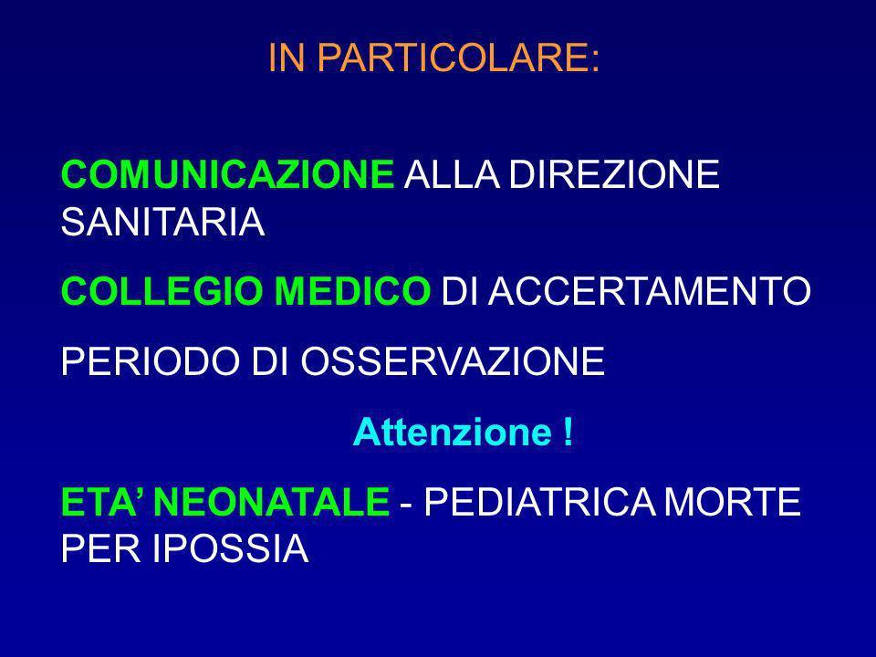 IN PARTICOLARE: COMUNICAZIONE ALLA DIREZIONE SANITARIA. COLLEGIO MEDICO DI ACCERTAMENTO. PERIODO DI OSSERVAZIONE.