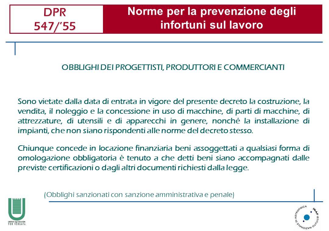 Norme per la prevenzione degli infortuni sul lavoro