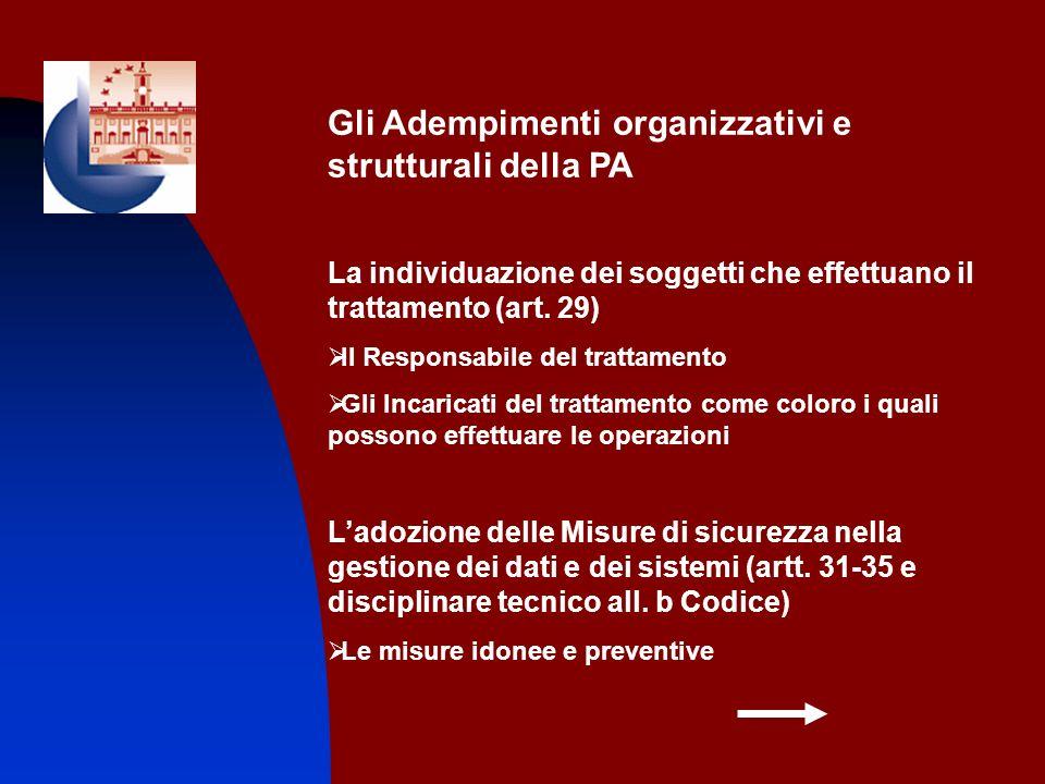 Gli Adempimenti organizzativi e strutturali della PA