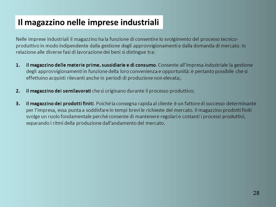 Il magazzino nelle imprese industriali