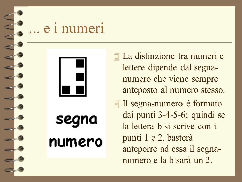 ... e i numeri La distinzione tra numeri e lettere dipende dal segna-numero che viene sempre anteposto al numero stesso.