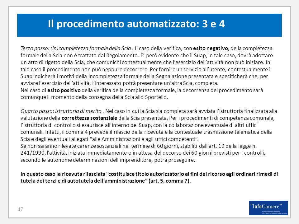 Il procedimento automatizzato: 3 e 4
