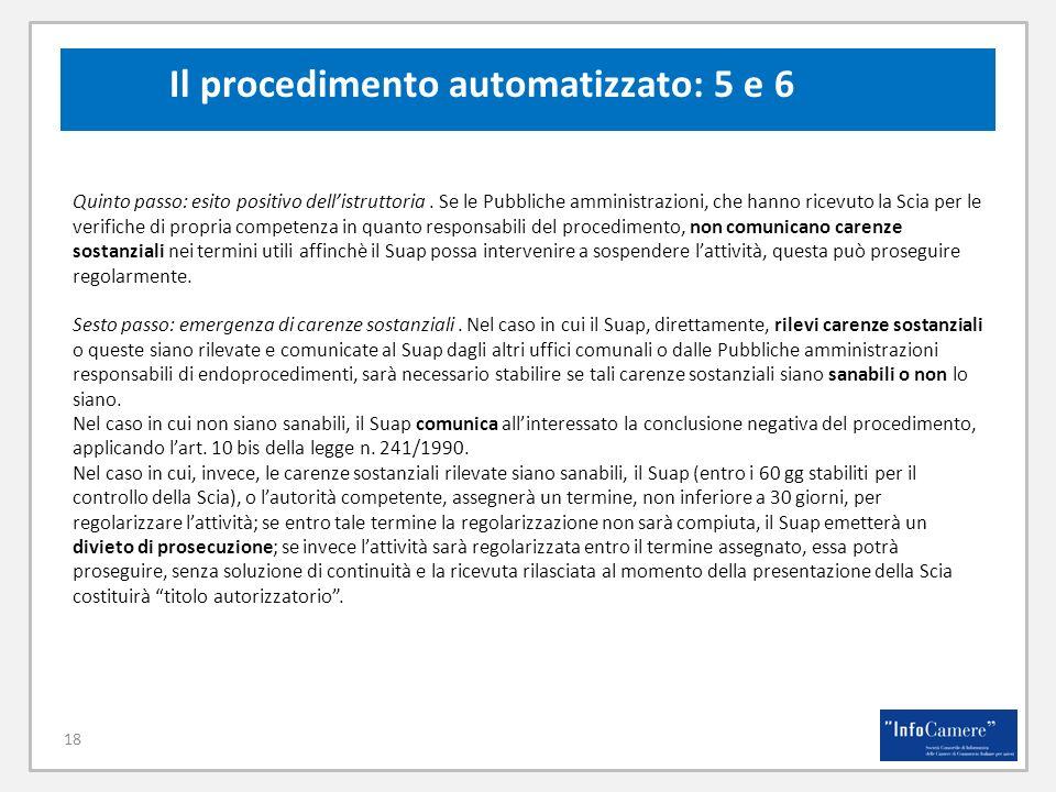 Il procedimento automatizzato: 5 e 6