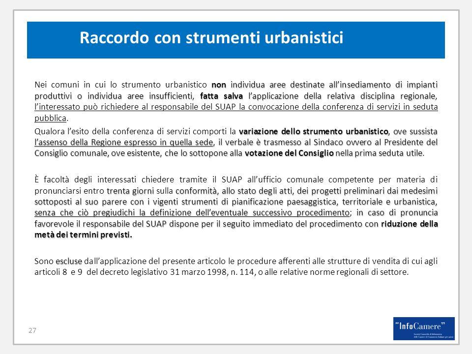 Raccordo con strumenti urbanistici