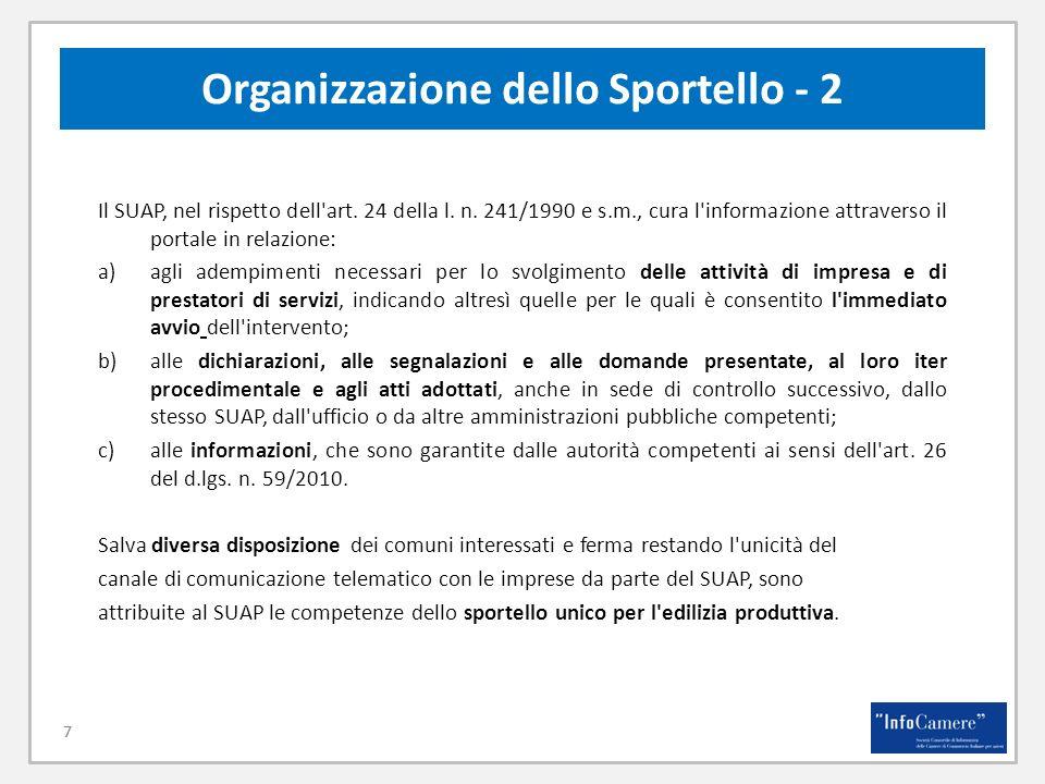 Organizzazione dello Sportello - 2