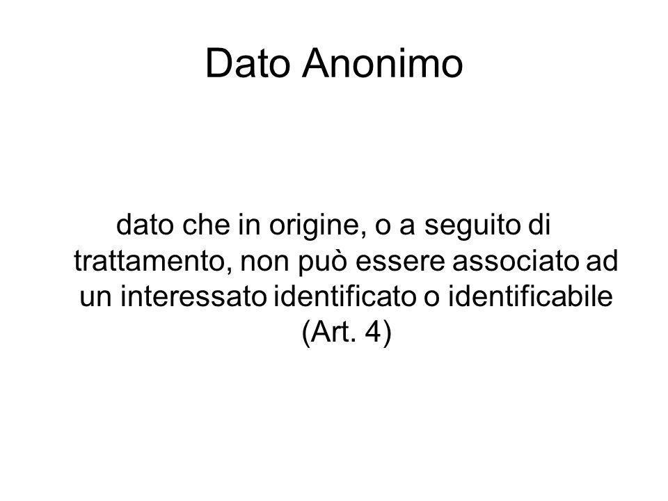 Dato Anonimo dato che in origine, o a seguito di trattamento, non può essere associato ad un interessato identificato o identificabile (Art.