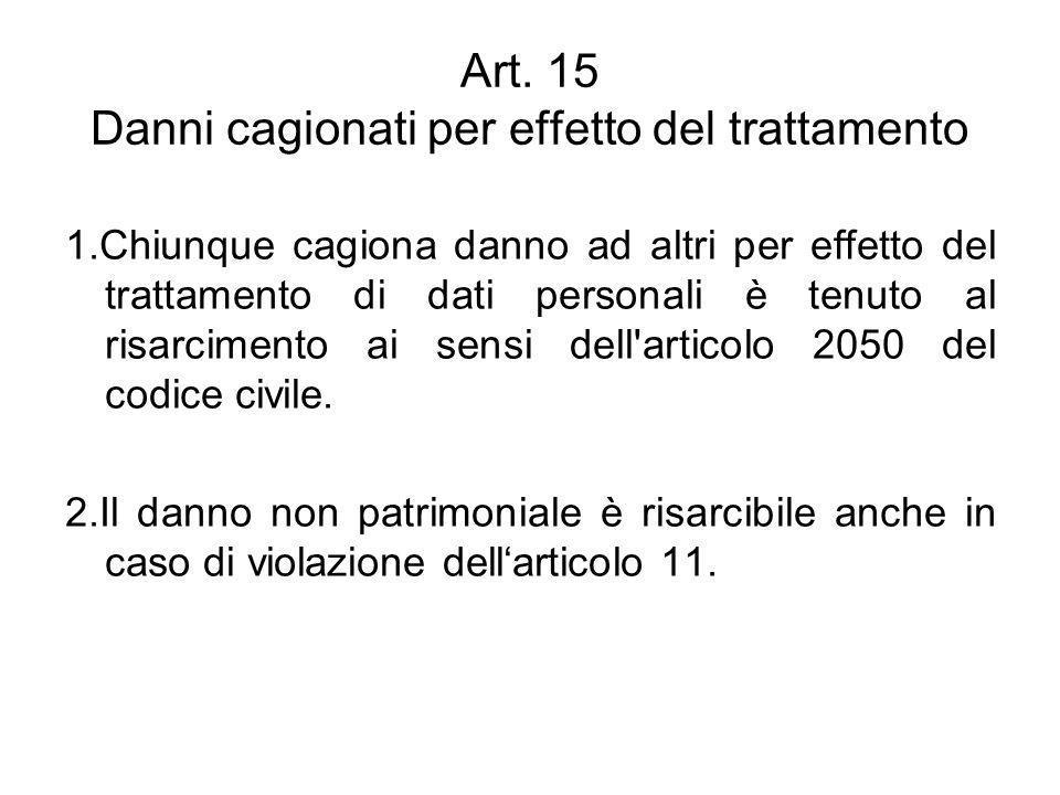 Art. 15 Danni cagionati per effetto del trattamento