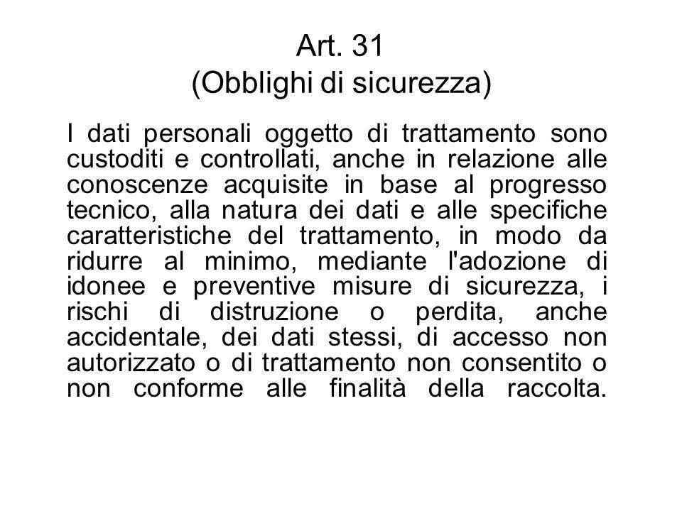 Art. 31 (Obblighi di sicurezza)