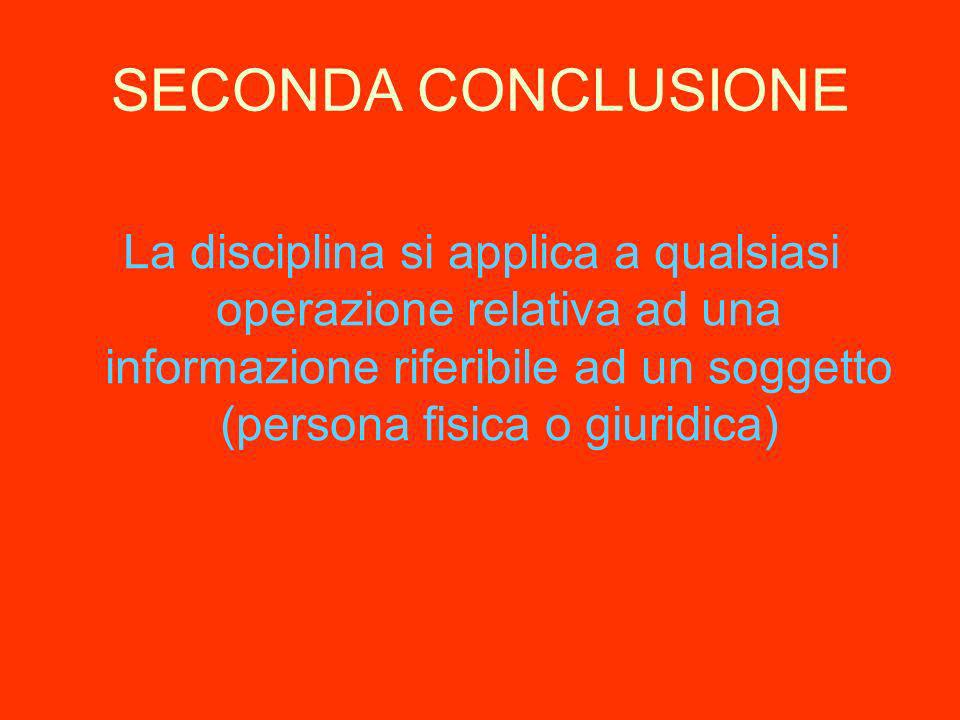 SECONDA CONCLUSIONE