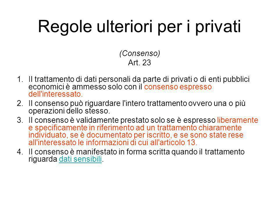 Regole ulteriori per i privati