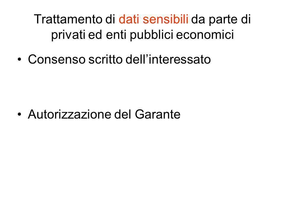 Trattamento di dati sensibili da parte di privati ed enti pubblici economici