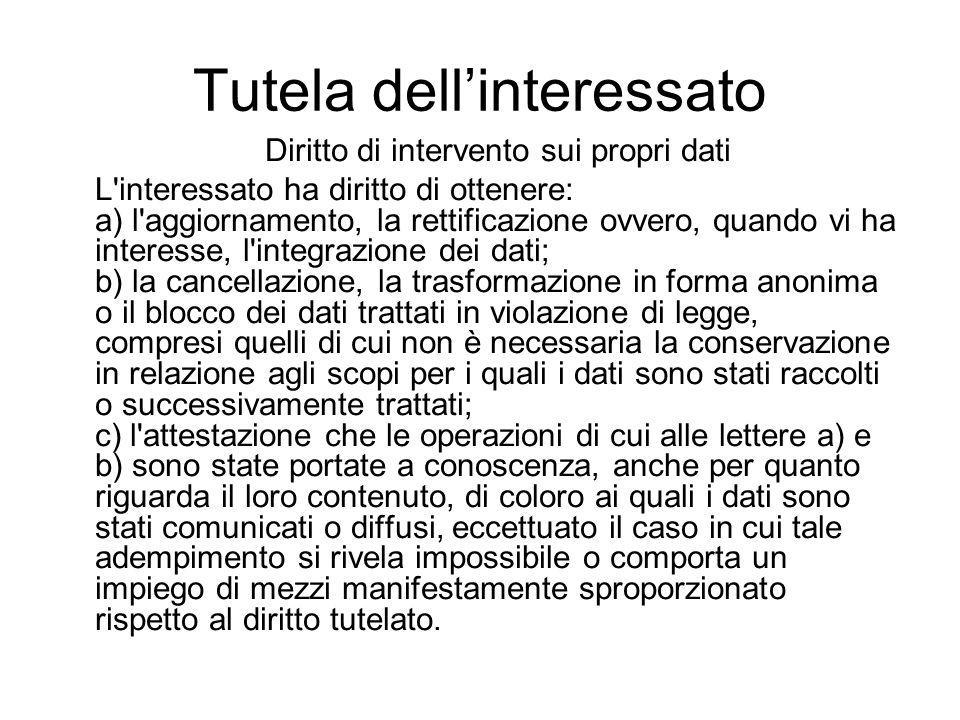 Tutela dell'interessato