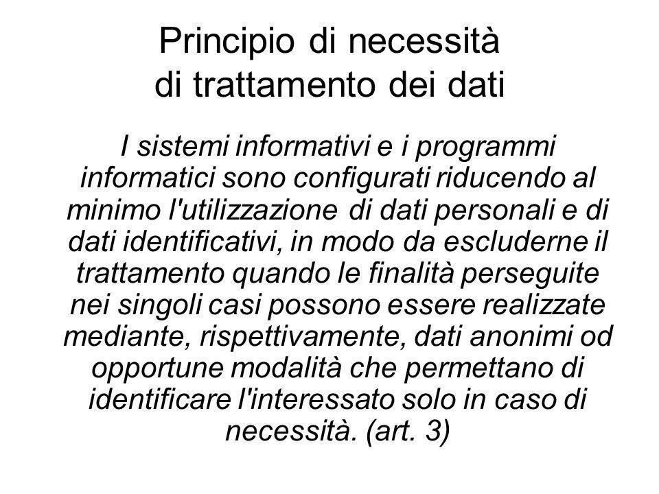 Principio di necessità di trattamento dei dati