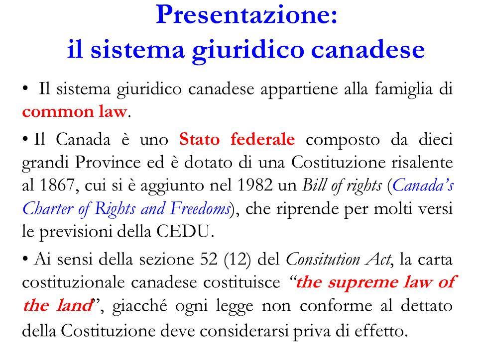 Presentazione: il sistema giuridico canadese