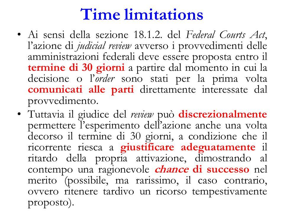 Time limitations