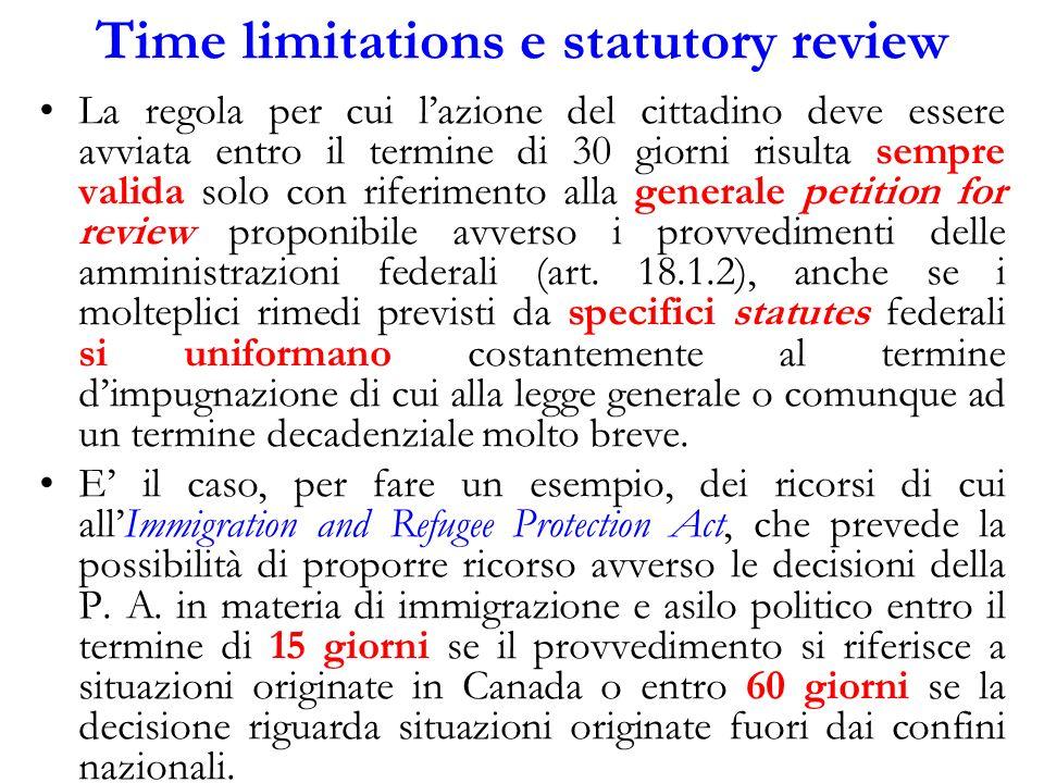 Time limitations e statutory review