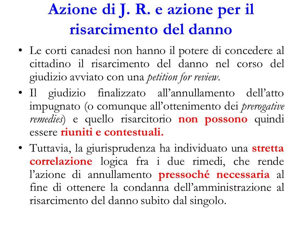 Azione di J. R. e azione per il risarcimento del danno