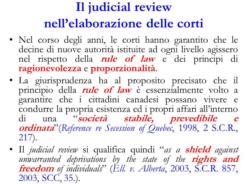 Il judicial review nell'elaborazione delle corti