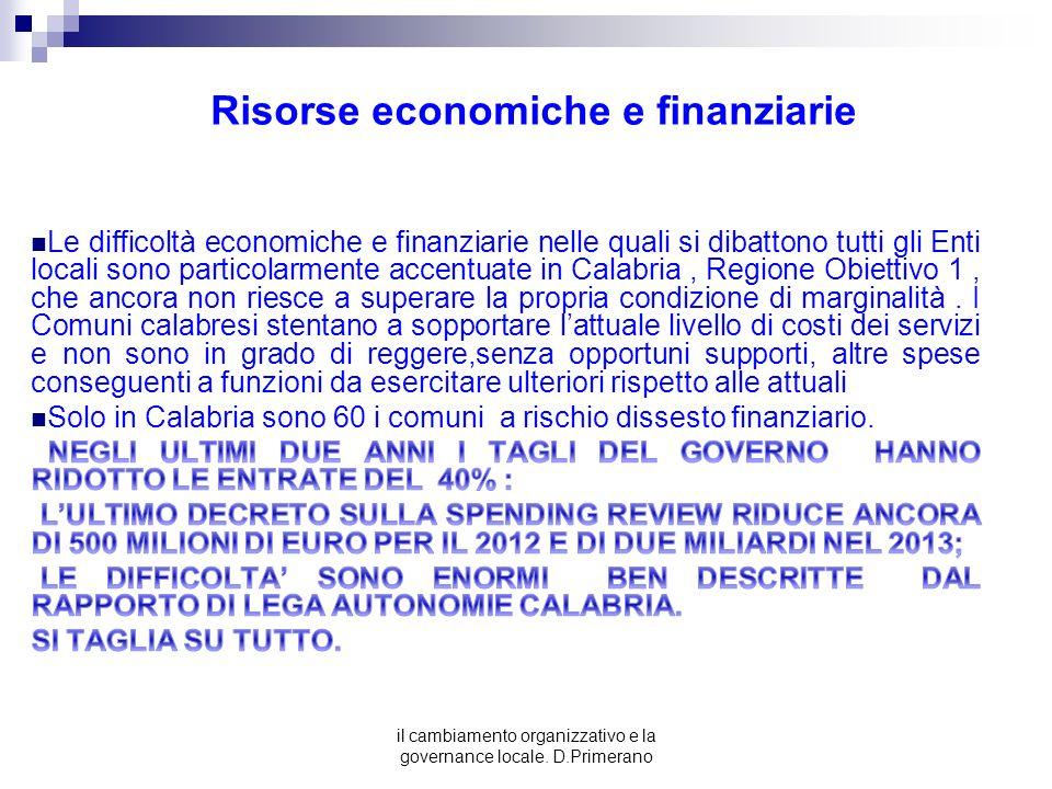 Risorse economiche e finanziarie