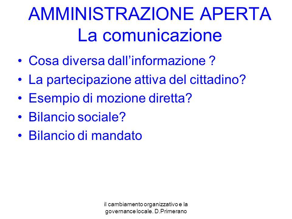 AMMINISTRAZIONE APERTA La comunicazione