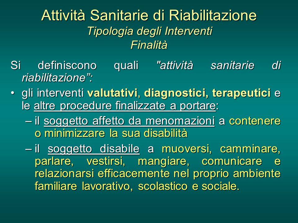 Attività Sanitarie di Riabilitazione Tipologia degli Interventi Finalità