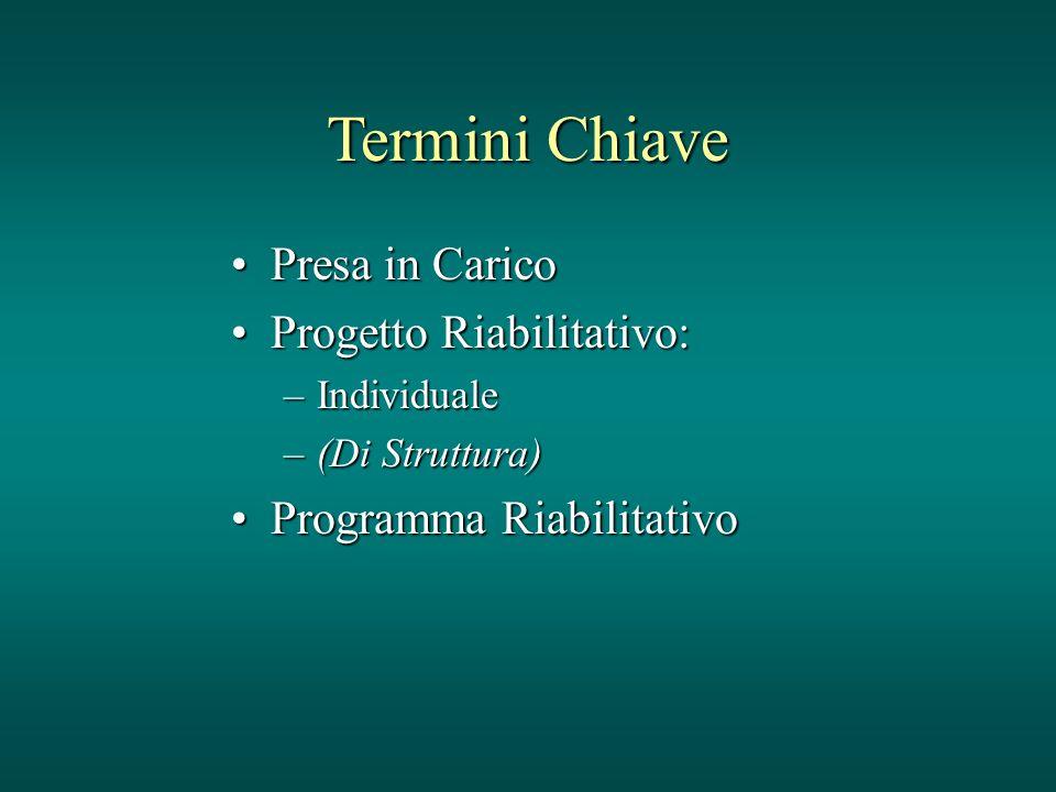 Termini Chiave Presa in Carico Progetto Riabilitativo: