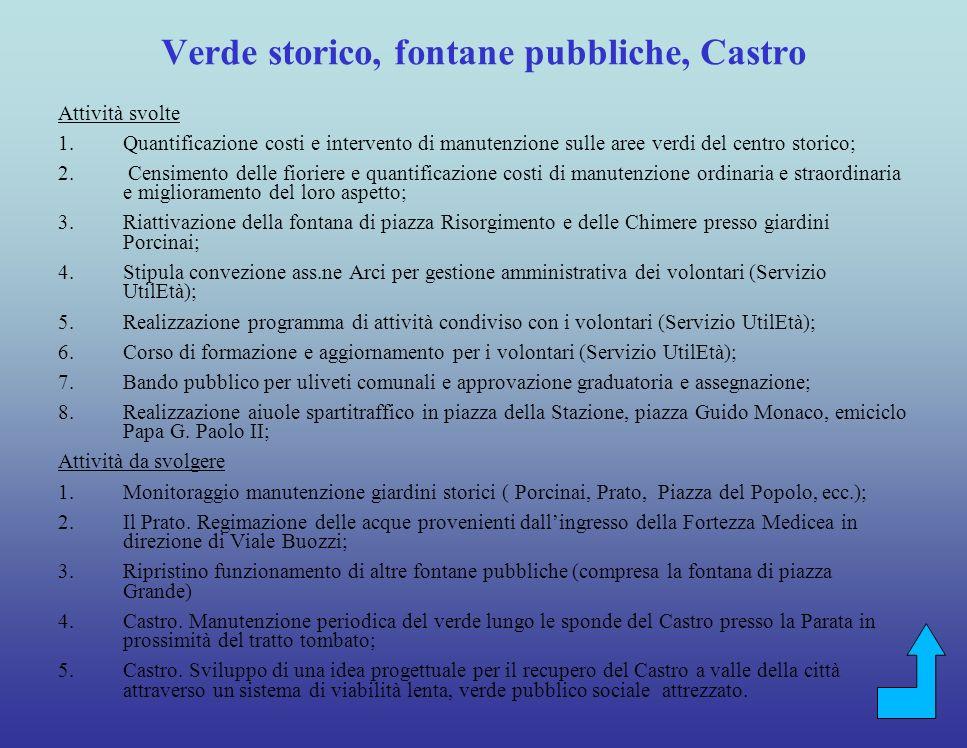 Verde storico, fontane pubbliche, Castro